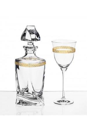 Σετ γάμου μπουκάλι και ποτήρι κρασιού με διακόσμηση από τα στέφανα No.1006
