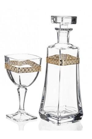 Σετ γάμου μπουκάλι και ποτήρι κρασιού με διακόσμηση από τα στέφανα No.1010