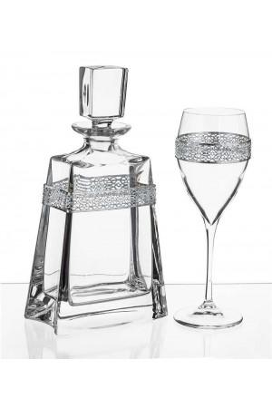 Σετ γάμου μπουκάλι και ποτήρι κρασιού με διακόσμηση από τα στέφανα No.1012