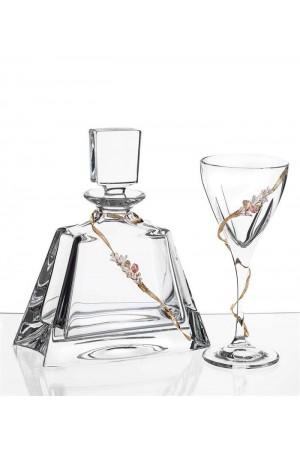 Σετ γάμου μπουκάλι και ποτήρι κρασιού με διακόσμηση από τα στέφανα No.1020