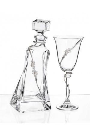 Σετ γάμου μπουκάλι και ποτήρι κρασιού με διακόσμηση από τα στέφανα No.1024