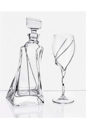Σετ γάμου μπουκάλι και ποτήρι κρασιού με διακόσμηση από τα στέφανα No.497