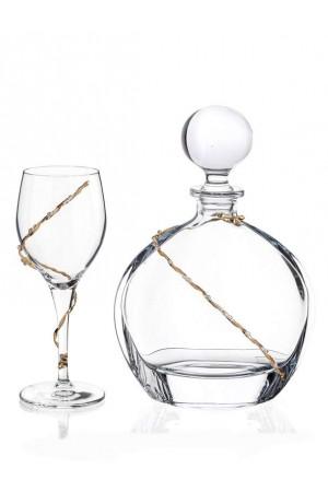 Σετ γάμου μπουκάλι και ποτήρι κρασιού με διακόσμηση από τα στέφανα No.675