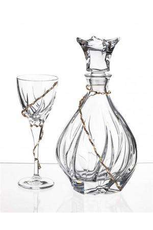 Σετ γάμου μπουκάλι και ποτήρι κρασιού με διακόσμηση από τα στέφανα No.720