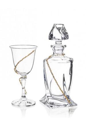 Σετ γάμου μπουκάλι και ποτήρι κρασιού με διακόσμηση από τα στέφανα No.814
